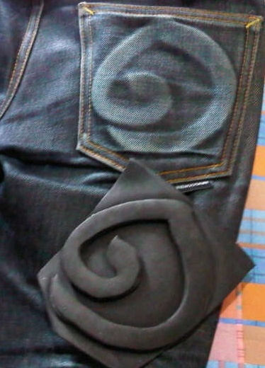 Foam is the material i use to put in right back pocket. One of very important thing is you can't wash this jean until your fate come. In other words, if you wash you jean too quick, your fate mat not appear and color of jean will change. I spend about one and the half year to wait for my fate to appear and this is the result.