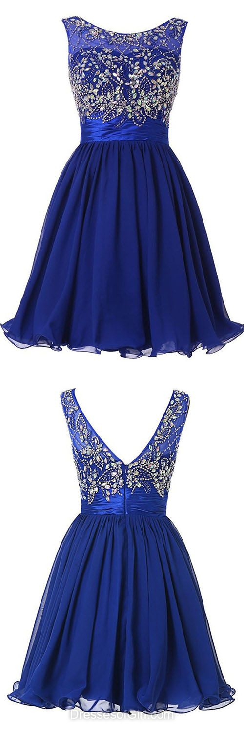 Royal Blue Homecoming Dresses, Cheap Prom Dresses, Short Party Dress, Beading Evening Gowns, Simple Cocktail Dress