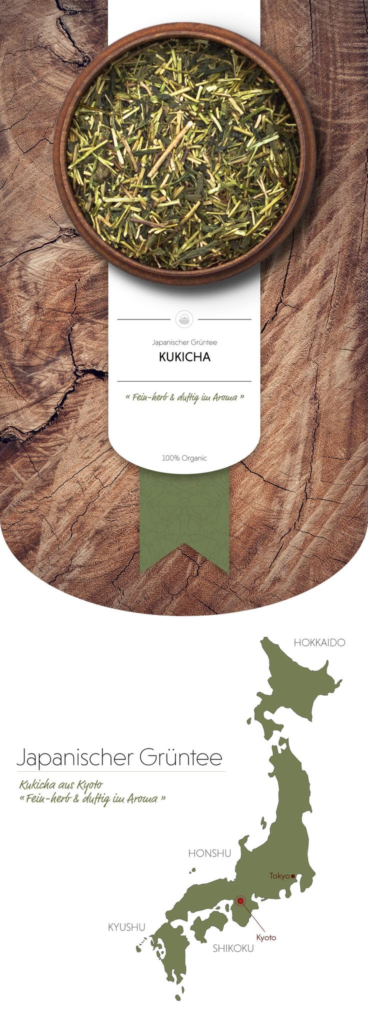 Kukicha Bio Grüntee | Feine Blattrippen mit einem würzigen und feinherben Geschmack und duftigem Aroma. #grünerTee #Grüntee #japanischerGrüntee #Japan #japanischerGrünerTee #Matcha #MatchaTee #Teezeremonie #japanischeTeezeremonie #JapanTee #Oryoki