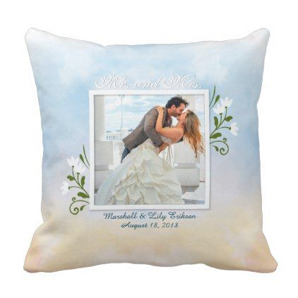 Elegant Add Your Own Photo Wedding Throw Pillow - anniversary cyo diy gift idea presents party celebration