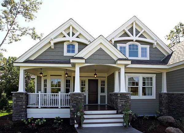 Bungalow 23522JD has a 3-car garage in front. And comes in a 2-car version, side garage versions, and versions with second floors? What's not to like? Plan Link http://www.architecturaldesigns.com/house-plan-23522JD.asp