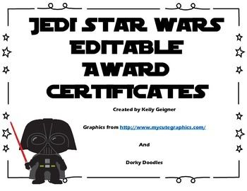 Five award certificates featuring adorable Star Wars graphics. Originally created for multiplication and division, these are entirely editable in MS Power Point. Perfect for any Star Wars themed activity!