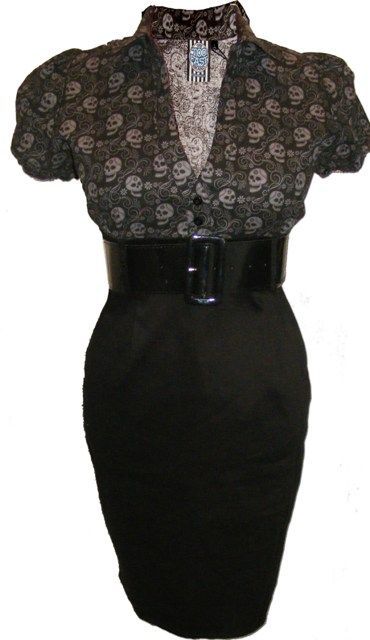 Skulls combined with pencil skirt. Best of both worlds (retro & goth). :)