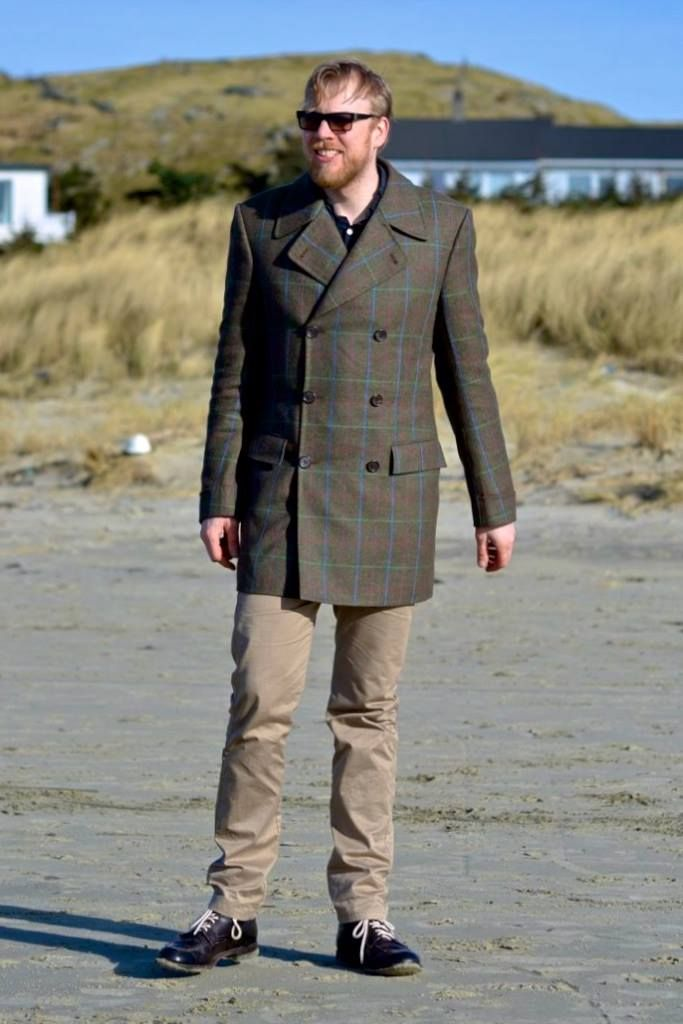 Ryan is in Hellestø, Norway, wearing one of our Caban coats, made from an English tweed especially designed for Wilhelm Jungmann & Neffe of Vienna.
