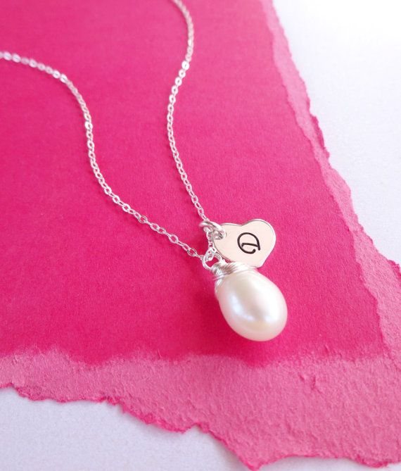 Set of 8: Eight pearl necklaces with initials by OtisBWeddings