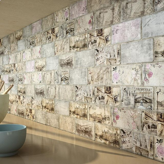 Romantic, Vintage Mosaic With Images Of European Cities