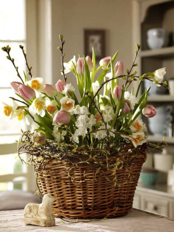 Tulips, Daffodils, Pussy willows in a basket. GORGEOUS Spring centerpiece!