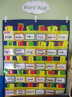 Word wall for finding adjective and verb options, Use this chart for sentence building ,label pocket fill with multiples of that word and let them build sentences. They practice matching words when returning to pockets