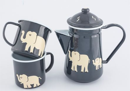 Hand painted charcoal elephant tea set - 0606