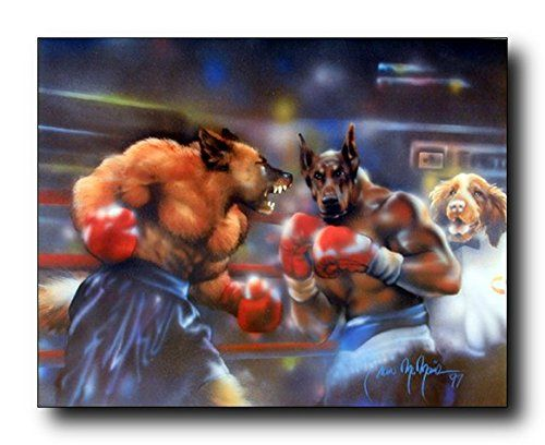 Enjoy the beauty of this dogs boxing animal art print poster. This poster displays the image of two dog fighting in a boxing ring. This is ideal for those persons who love to Jim and youngsters too. Ensures the high degree of quality and color accuracy. This poster is ideal for any dog lover.