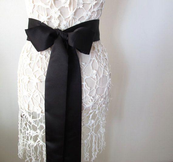 Black Matte Satin Sash Bow Belt Wedding Sash Bridal Sash Bridesmaid Sash - by ccdoodle on etsy - made to order via Etsy