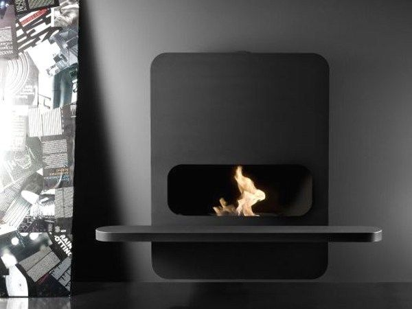 Download the catalogue and request prices of wall-mounted steel fireplace Wall_b | bioethanol fireplace, design Andrea Crosetta, Fire line to manufacturer Antrax It Radiators & Fireplaces