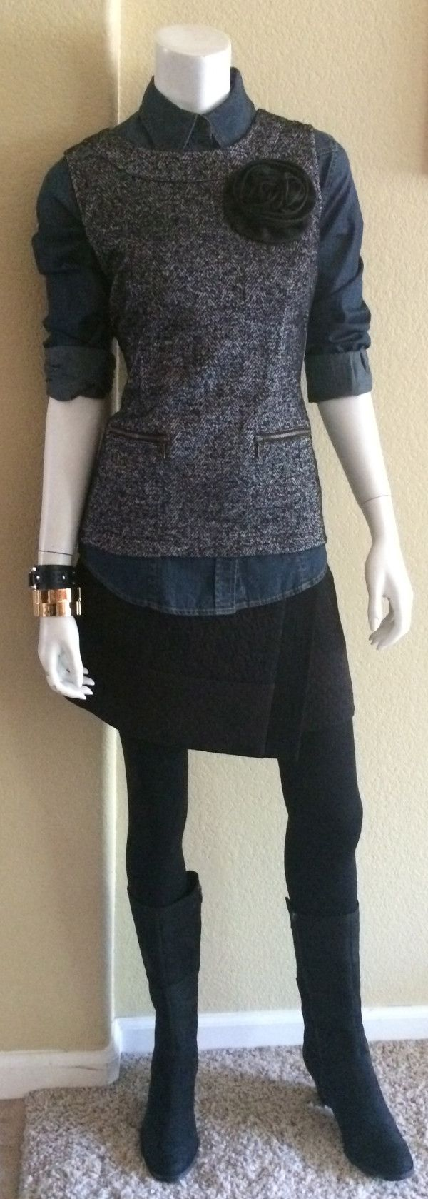 #STYLE IT! #CAbiClothing CAbi Fall '14 Swathe Skirt, McQueen Shirt, Cece Shell and Hardware Bangles with Fry boots and tights.