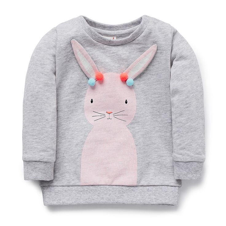 100% Cotton French Terry. Long sleeve wincheater with snap buttons on weariers left shoulder for easy dressing. Features bunny placement print with coloured pom poms. Regular fitting silhouette. Available in Cloud.