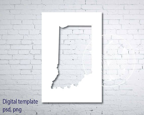 Digital Indiana state map template Indiana psd png template