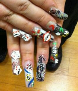 13 best nail art we 3 images on pinterest playing card comic viva las vegas nail art by christina look at the amazing detail including playing prinsesfo Gallery