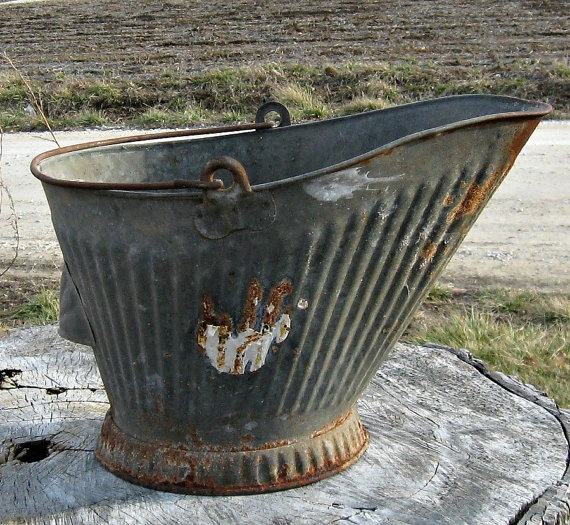 33 best images about vintage galvanized buckets pails etc for Old metal buckets