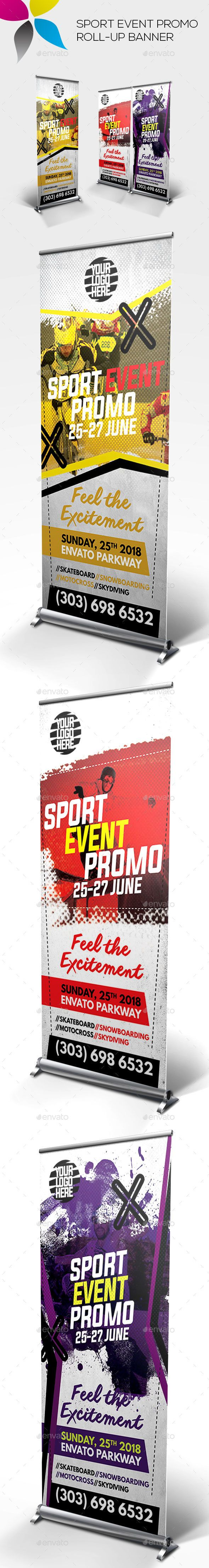 Sport Event Promo Roll-up Banner by inddesigner Banner size 30x70in Bleed 1in Adobe Photoshop CC CMYK 100dpi Info file included Photos used in the preview are not included