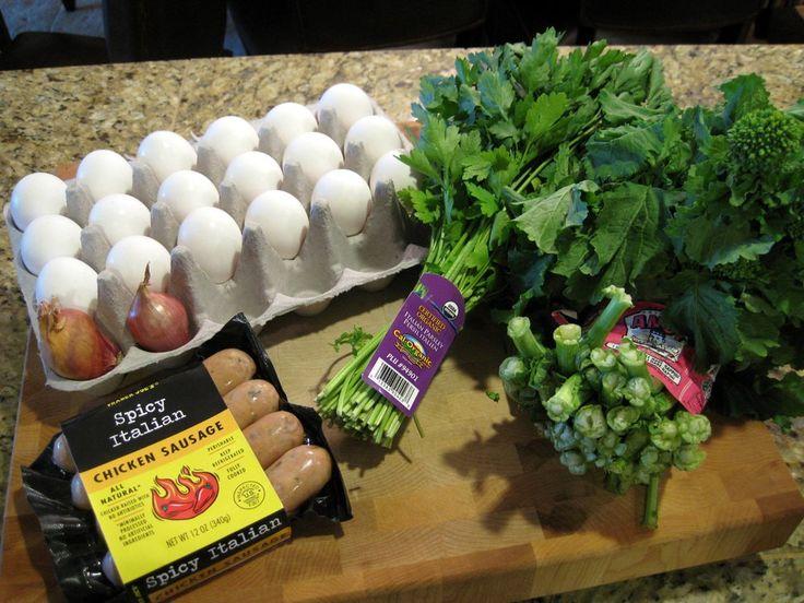 Paleo Breakfast Casserole. Chicken Sausage, Broccoli Rabe + Shallot.