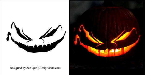 10 Free Scary Halloween Pumpkin Carving Patterns / Stencils & Ideas 2014