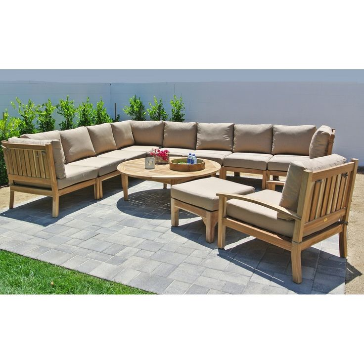 11pc Huntington Teak Outdoor Patio Furniture Sectional Seating Group With  52 Chat Table. (Jockey Red), Size 11 Piece Sets