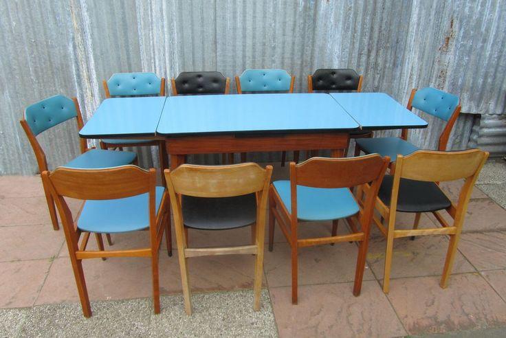 retro, vintage, rockabilly, eetkamer, set, tafel, uittrektafel, stoelen, jaren, 50, 60