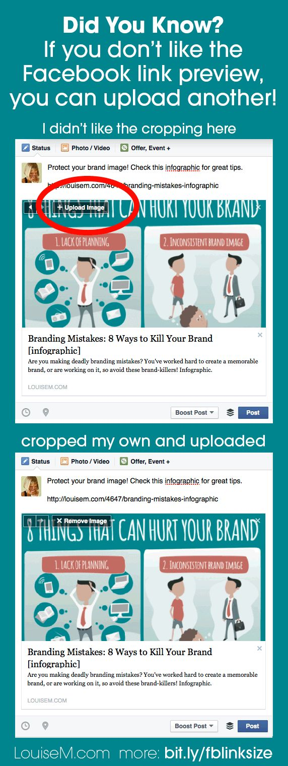 If you don't like the image Facebook pulls in with a shared link, or if NO image is pulled in, you can upload any image you like! Note that the ideal dimensions are 600x315 pixels up to 1200x627 pixels. Images less than 600 pixels wide may display as a tiny preview. Get all the details here! --> http://louisem.com/3838/facebook-link-thumbnail-image-sizes