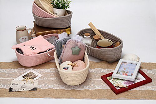 Sea Team Cymbiform Natural Cotton Thread Woven Coiled Rope Storage Basket Bin Hamper with Handles for Nursery Kid's Room Storage (Pink)