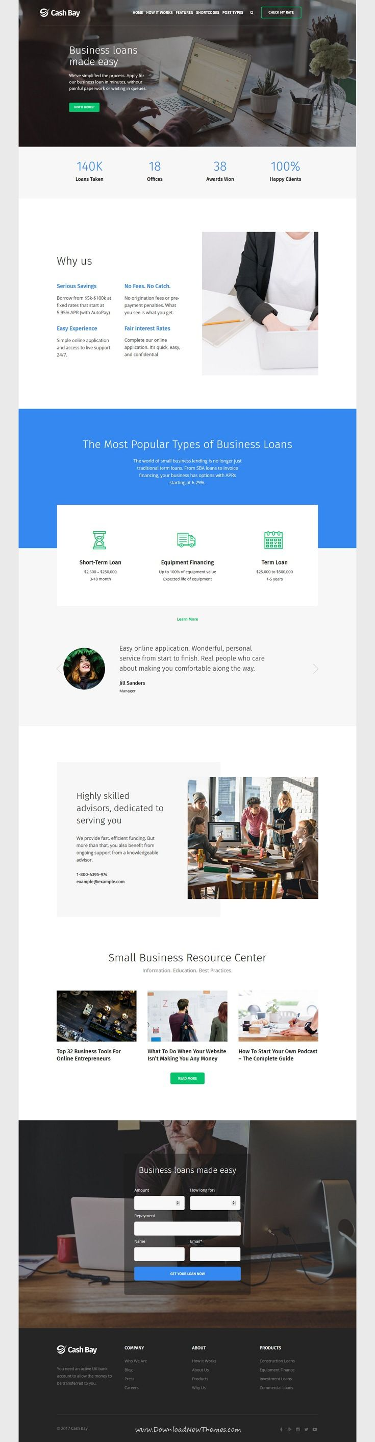 Cash Bay is clean and modern design 2in1 responsive #WordPress theme for online #financial services, bank and paycheck #loans website to live preview & download click on Visit