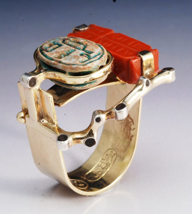 Awesome Ring by Joseph Gatto kt gold ancient Egyptian scarab ancient carnelian ring