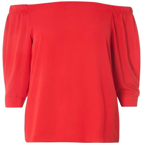 Dorothy Perkins Burnt Red Bardot Top (2.420 RUB) ❤ liked on Polyvore featuring tops, red, dorothy perkins and red top