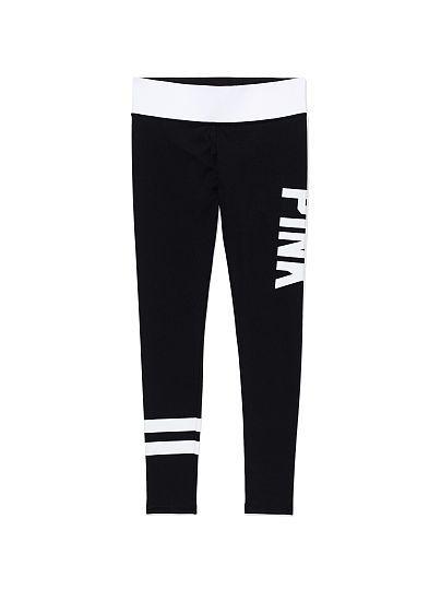 VS PINK Printed Ultimate Yoga Legging-color:black white pink