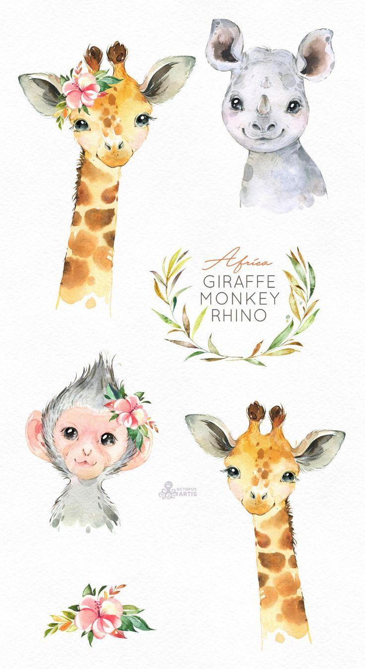 Africa Giraffe Monkey Rhino Watercolor Little Animals