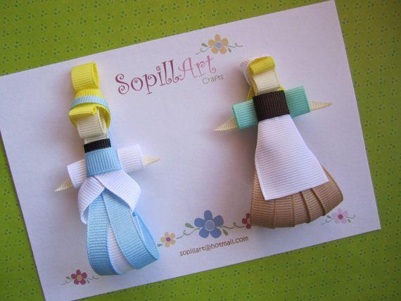Cinderella set of 2 ribbon hair clips