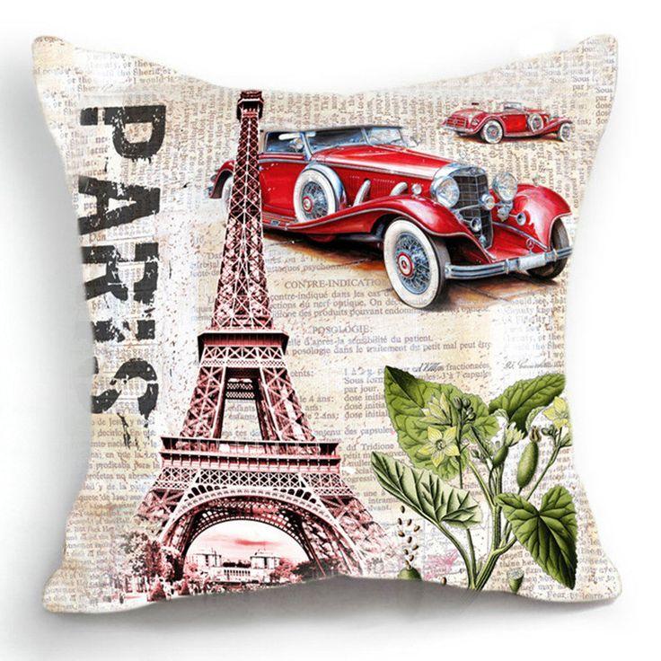 Scandinavo cuscini retro vintage parigi torre eiffel divano cuscini decorativi soggiorno divertente cuscini auto almofada cojines(China (Mainland))