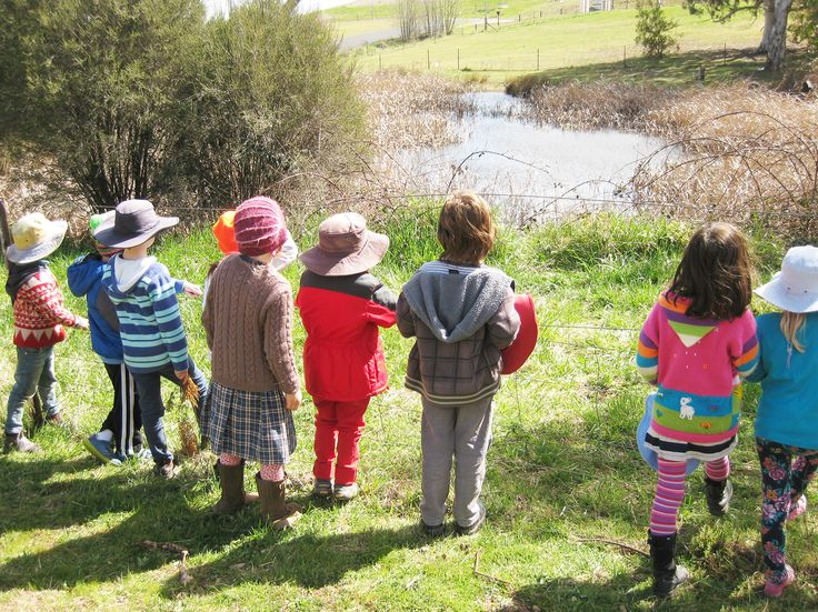 Students enjoying a morning walk about the grounds of Orana Steiner School in Canberra, Australia.