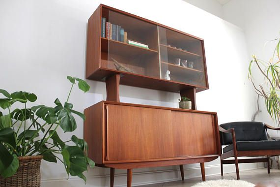 Mid Century Teak Credenza Sideboard Buffet with Floating Hutch