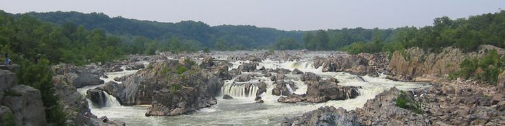 Great Falls of the Potomac, Virginia, in summer.  At Great Falls, the Potomac River builds up speed and force as it falls over a series of steep, jagged rocks and flows through the narrow Mather Gorge. The Patowmack Canal offers a glimpse into the early history of this country. Great Falls Park has many opportunities to explore history and nature, all in a beautiful 800-acre park only 15 miles from the Nation's Capital.
