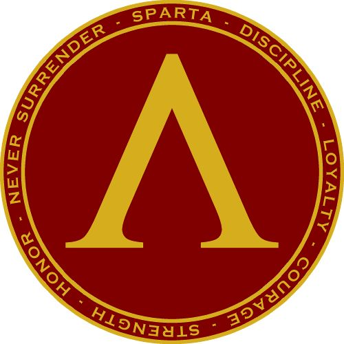 Features the lamda, the symbol shown on Spartan shields surrounded by circular text describing Spartan virtues on the back and front pocket.