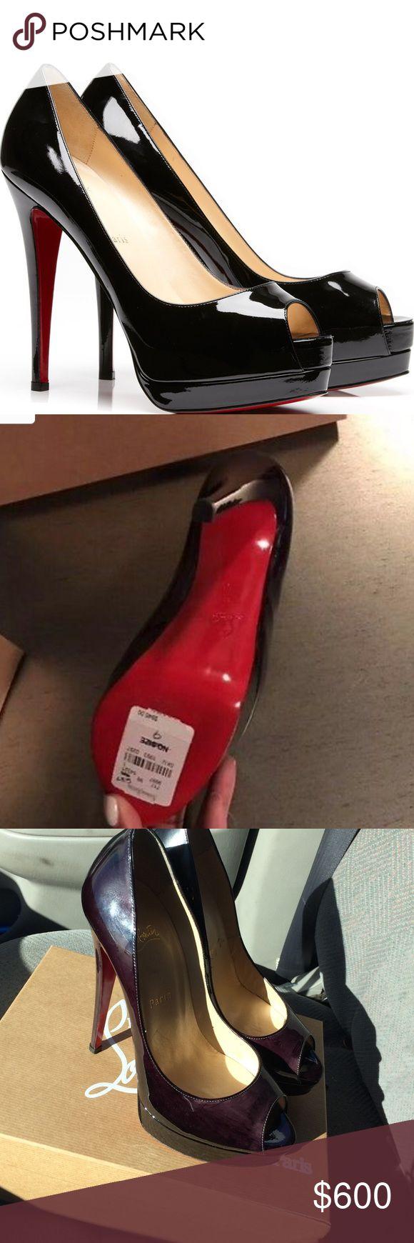 Christian Louboutin Peep Toe BLACK Black patent leather peep toe Christian Louboutin pump size 39.... BRAND NEW.... retail price $945 Christian Louboutin Shoes Heels