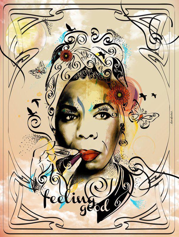 Nina Simone. Feeling Good. #poster #illustration #UrbanArts by Juliana Rodrigues.