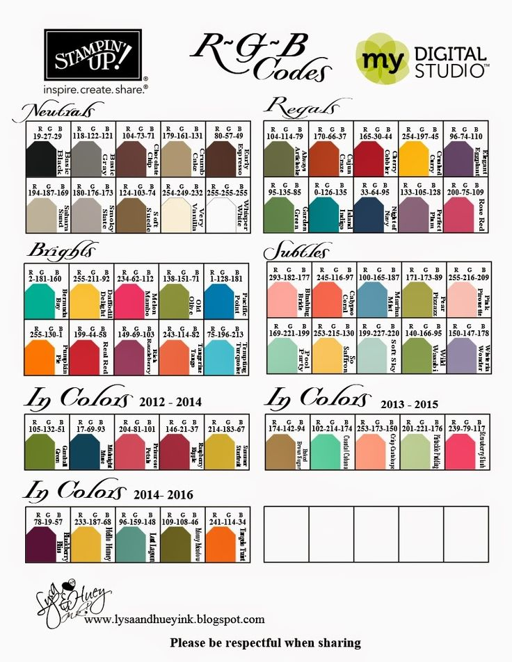 Best Stampin Up Rgb Charts Images On   Colour Chart