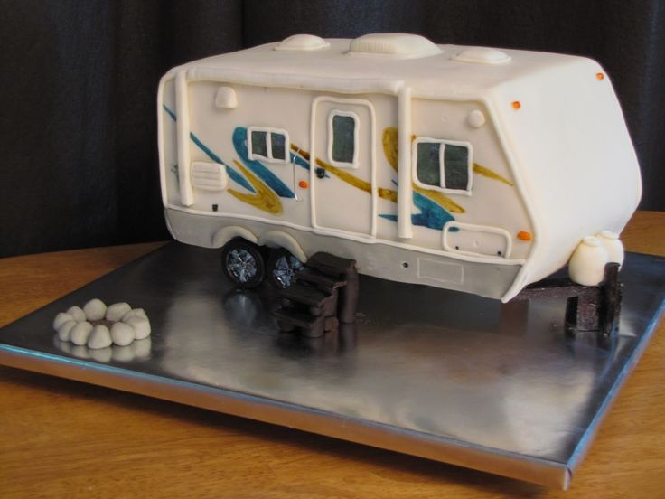TJ Happy Cakes: Classy white wedding cake and camper grooms cake