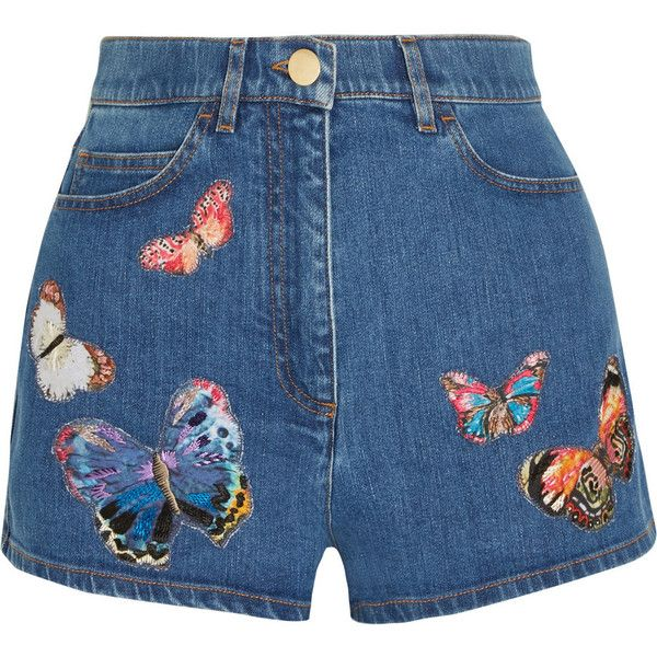 Valentino Embroidered appliquéd stretch-denim shorts found on Polyvore featuring shorts, bottoms, pants, short, valentino, blue, high-rise shorts, blue short shorts, blue high waisted shorts and short shorts