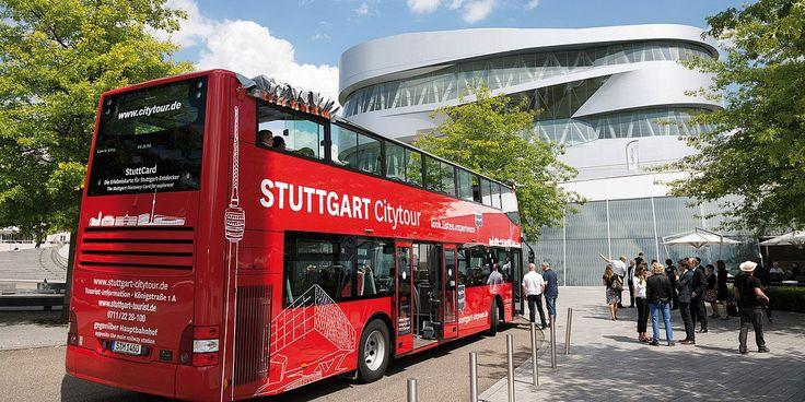 Hop-on hop-off in Stuttgart unterwegs - mit der Citytour Stuttgart. Entdecken Sie Stuttgart bequem im offenen Doppeldecker Bus.