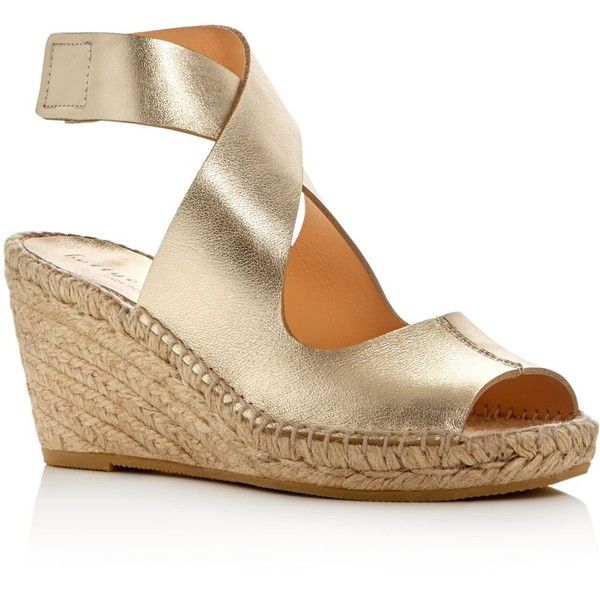 Bettye Muller Mobile Metallic Espadrille Wedge Sandals (1.857.520 IDR) ❤ liked on Polyvore featuring shoes, sandals, gold, metallic wedge sandals, metallic espadrilles, leather espadrilles, wedges shoes and leather sandals