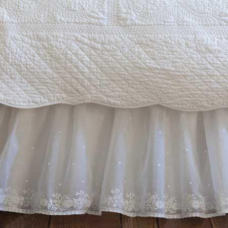 Taylor Linens Daisy Dot White Bed Skirt