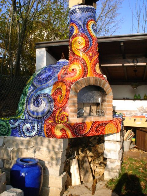 gorgeous mosaic pizza oven, by frances green