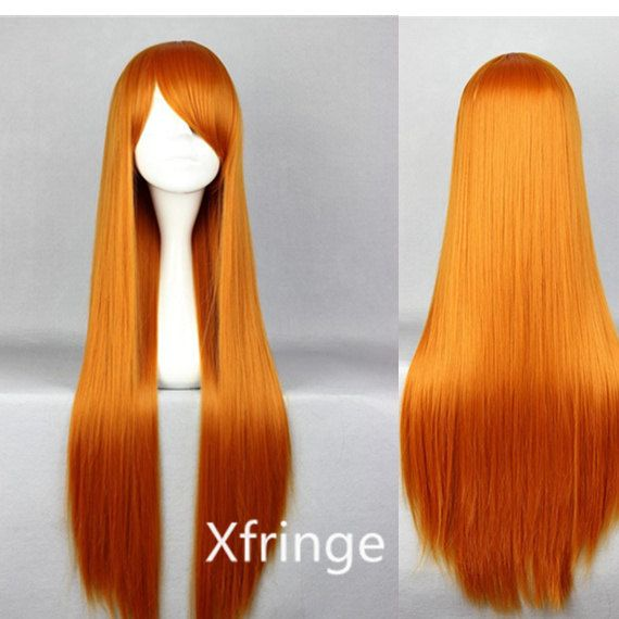 Long Orange Wig Cosplay Wig Anime Costume Wig with Bangs Inspired by Orihime Inoue EVA-Asuka 31inch on Etsy, $13.99