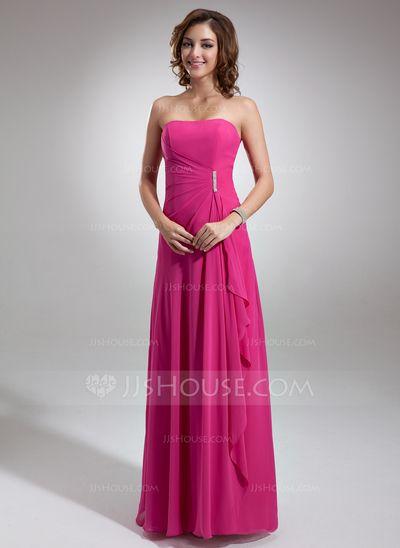 Bridesmaid Dresses - $97.49 - A-Line/Princess Sweetheart Floor-Length Chiffon Bridesmaid Dress With Beading Cascading Ruffles (007001085) http://jjshouse.com/A-Line-Princess-Sweetheart-Floor-Length-Chiffon-Bridesmaid-Dress-With-Beading-Cascading-Ruffles-007001085-g1085